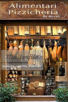 Smoked Meat in shop Window, Siena, Tuscany, Italy