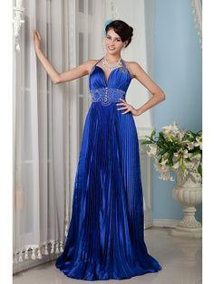 Beautiful Empire Halter Floor-length Elastic Satin Beading Evening Dress SEM0319-Y