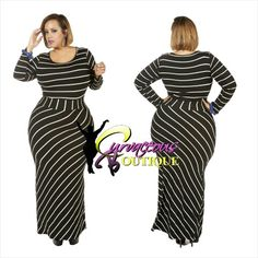 BLACK STRIPE MAXI DRESS    ( MODEL WEARING 1X )   SIZE :  1X  2X  3X    COLORS :  RUST  CREAM  BLACK    WWW.CURVACEOUSBOUTIQUE.COM & IN STORE    { { VISIT THE WEBSITE FOR ALL DETAILS & PRICE } } }