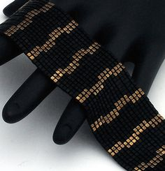 Beaded Bracelet, Staggered Stripes, Bronze on Matte Black