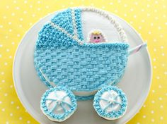 Your baby shower guests will be amazed at this adorable baby buggy cake and will probably think you bought it!