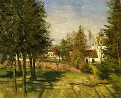 """Camille Pissarro (1830-1903) - """"The Pine Trees of Louveciennes"""" - Oil."""
