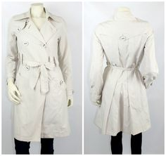 Sacoor Brothers Women's Beige Belted Trench Coat Jacket Size Small #SacoorBrothers #Trench