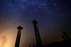 The Perseid meteor shower over the archaeological site Stobi, near Skopje, The Former Yugoslav Republic of Macedonia, on Aug. 13, 2013.