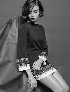 Lily Collins for Barrie Knitwear Collection