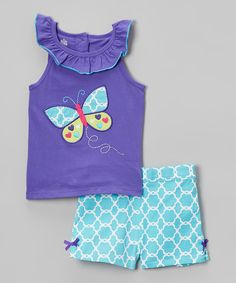 Loving this Kids Headquarters Purple Lattice Butterfly Tank & Shorts - Infant, Toddler & Girls on #zulily! #zulilyfinds