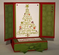 free standing pop up holiday card inside by - Cards and Paper Crafts at Splitcoaststampers Christmas Tree Cards, Xmas Cards, Holiday Cards, Christmas Ideas, Christmas Crafts, Squash Card, Advent, Pop Up Play, Tarjetas Pop Up