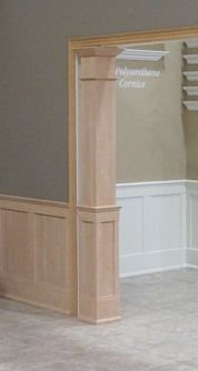 Pre-Finished Square Half Paneled Column To complement our Pre-finished Wainscoting, we offer matching square columns for all our standard finishes. The columns flow into the wainscoting perfectly as t Interior Columns, Interior Trim, Interior Design, Interior Doors, Interior Paint, Home Renovation, Home Remodeling, Square Columns, Moldings And Trim