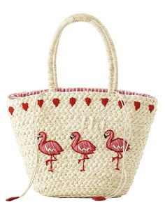 Embroidered Flamingo Straw Tote Bag - OFF WHITE