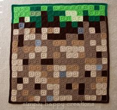 Crochet 8-Bit Pixel Blanket-- Minecraft Grass Block by simplyhappycreations