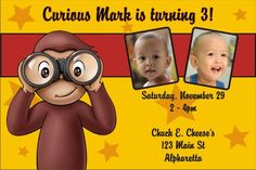 Curious George Photo Invitations Personalized Party Invites