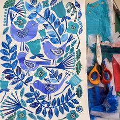 Illustrator Tracey English tissue paper collage art