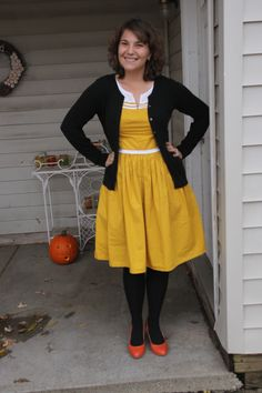 Jackie and Marilyn Dress With Cardigan, Black Cardigan, Orange Accessories, Clothing Blogs, Candy Corn, Autumn Fashion, Yellow, How To Wear, Outfits