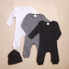 Newborn Take Home Outfit, Baby Romper and Optional Hat, Baby Boy Clothes, Baby Neutral Clothes, Black & White Baby Outfit, TesaBabe  https://presentbaby.com #babyboyoutfits
