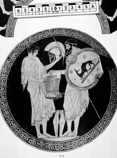 Odysseus gives Neoptolemus his father's armor