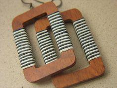 MONTAUKRectangular Large Wood Earrings Wrapped by sunsouljewelry, $35.00