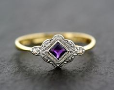 Antique Art Deco Ring - Art Deco Amethyst & Diamond Antique Ring 18ct Gold and Platinum