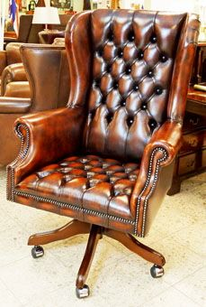 Home Office Setup, Home Office Space, Home Office Design, Leather Furniture, Custom Furniture, Office Furniture, Chesterfield Sofas, Vintage Desk Chair, Tuscan Furniture