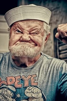 Popeye the Sailor is a cartoon fictional character, who has appeared in comic strips and animated cartoons in the cinema as well as on television. Look at this funny man, he looks like Popeye the sailor. Popeye Le Marin, Popeye The Sailor Man, Vida Real, Foto Art, People Of The World, Interesting Faces, Belle Photo, Make Me Smile, Laughter