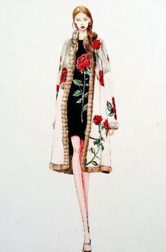 【笔尖时尚】时装周手绘 手绘插画 素材 时装 水彩手绘 杜嘉班纳