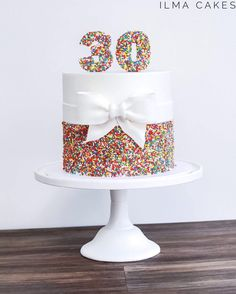Rainbow Sprinkles And A Pretty Handmade Fondant Bow For This Simple But Fun 30th Birthday Cake From The Weekend Ilmacakes Customcakes