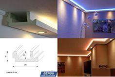 BENDU – Moderne Stuckleisten bzw. Lichtprofile für indirekte Beleuchtung von Wand und Decke aus Hartschaum WDML-200A-PR. Kombinierbar mit LED Band bzw. Lichtschlauch und / oder Spots bzw. Downlights.