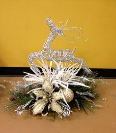 Silver deer Christmas Centerpiece