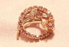 Vintage Pink Rhinestone Flower Brooch - Retro Gold Tone Wreath Pin filigree #Unbranded