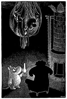 Moomin uses a lantern to see in the dark - by Tove Jansson Tove Jansson, Art And Illustration, Moomin Books, Totoro, Painting & Drawing, Drawing Room, Childrens Books, Fairy Tales, Scene
