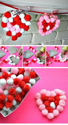 21 Amazing Facts About Your Heart Sticky Pom Pom Hearts Garland Toddler Valentine Crafts, Kinder Valentines, Valentines Day Activities, Valentines For Kids, Toddler Crafts, Diy Valentine, Valentine Treats, Easter Crafts, Valentinstag Party