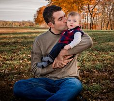 Dad kissing baby boy on cheek outside in fall Baby Kids, Baby Boy, 6 Month Old Baby, Happy Photos, 6 Month Olds, Baby Milestones, Kissing, 6 Months, Amber