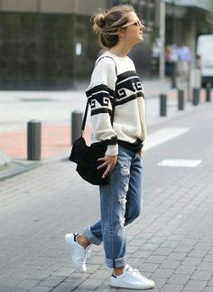 nice Такие модные джинсы бойфренды — Фото, женские модели, идеи образов