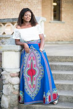 African Clothing; Blue Dashiki Skirt; African Clothing; African fashion; African Print; African Skirt; African Clothing; Tribal Print; Skirt - pinned by pin4etsy.com