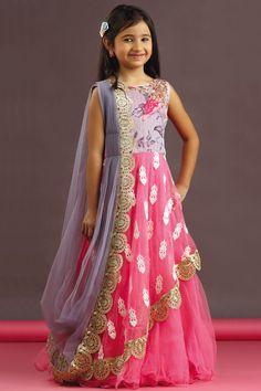 DrPicture of Pink & grey color saree style gown Kids Dress Wear, Kids Gown, Party Wear Dresses, Little Girl Dresses, Gowns For Girls, Baby Dress, Girls Dresses, Cute Dresses, Kids Wear