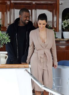 Kim Kardashian and Kanye West pictured leaving the Lady Joy Yacht in Cannes.