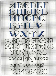 Cross stitch letters. Simple. Medium size. Back stitch.