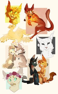 Commission batch by Finchwing on DeviantArt Warrior Cat Drawings, Warrior Cats Art, Cute Drawings, Animal Drawings, Anime Animals, Cute Animals, Character Art, Character Design, Cat Oc
