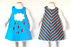 RAINBOW girls reversible jumper dress in cotton, with hand embroidered cloud and raindrops applique, girls handmade clothes uk Toddler Dress, Toddler Outfits, 16th Birthday Outfit, Clothes For Sale, Clothes Uk, Reversible Dress, Design Girl, Fabric Covered Button, Jumper Dress
