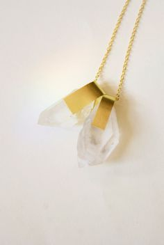 Raw Crystal Quartz Points Brass Gold Necklace by inhersummerdress, $30.00