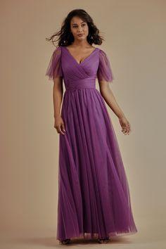 L214009 Soft Tulle Long Bridesmaid Dress with V-Neckline ea246b91ac67