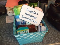 Hospital Survivial kit baby shower gift.  What's inside:  Facial wipes  tissues  slipper socks  hair bands  pony tail holders  gum  mints  mnms  hershey kisses  tylenol   deodorant    chapstick    lotion