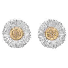 Buccellati Large Silver, 18k Gold & Diamond Daisy Earclips