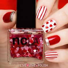 """Top 12 """"Fashion"""" Spring & Valentine Nail Designs – New Famous Manicure Trend Beautiful Nail Art, Gorgeous Nails, Love Nails, Red Nails, Pretty Nails, Hair And Nails, Nail Art Designs 2016, Simple Nail Art Designs, Cute Nail Designs"""