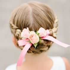 braid hairstyle with flowers for flower girl