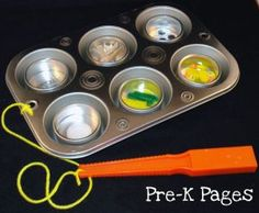 DIY Muffin Tin Magnetic Tray for Science Center in  Preschool or Kindergarten