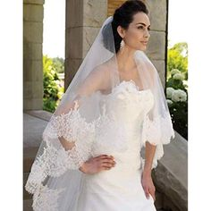 Custom made length 2 tier wedding bridal veil. Made of soft tulle,the bridal veil characterized by the unique sequins lace and the lace appliques on the edge of the veil.The sequins on the edge will make it shine. Ivory Wedding, Luxury Wedding, Chapel Veil, Lace Veils, Lace Wedding Veils, Wedding Hairstyles With Veil, Bridal Lace, Bridal Veils, Wedding Hair Accessories