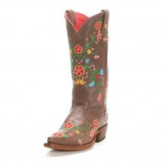 Macie Bean Brown Red Floral Embroidered Cowgirl Boots