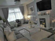 Grey Wallpaper Living Room, Blue Living Room Decor, New Living Room, Living Room Modern, Home Room Design, Living Room Designs, Small Apartment Living, Luxury Rooms, Decoration