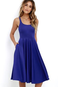 Take the Making Memories Royal Blue Midi Dress out and about for a look that will stay etched in all your friends' minds! Medium-weight knit shapes a sleeveless, darted bodice with a scooping neckline and fitted waist. A full and elegant midi skirt creates a twirl-ready silhouette! Hidden back zipper.