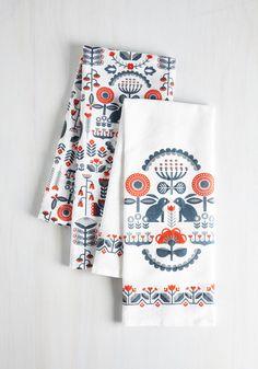 According to Legendary Tea Towel Set - Folk Art, Good, Cotton, White, Red, Blue, Rustic, Critters, Woodland Creature, Woven